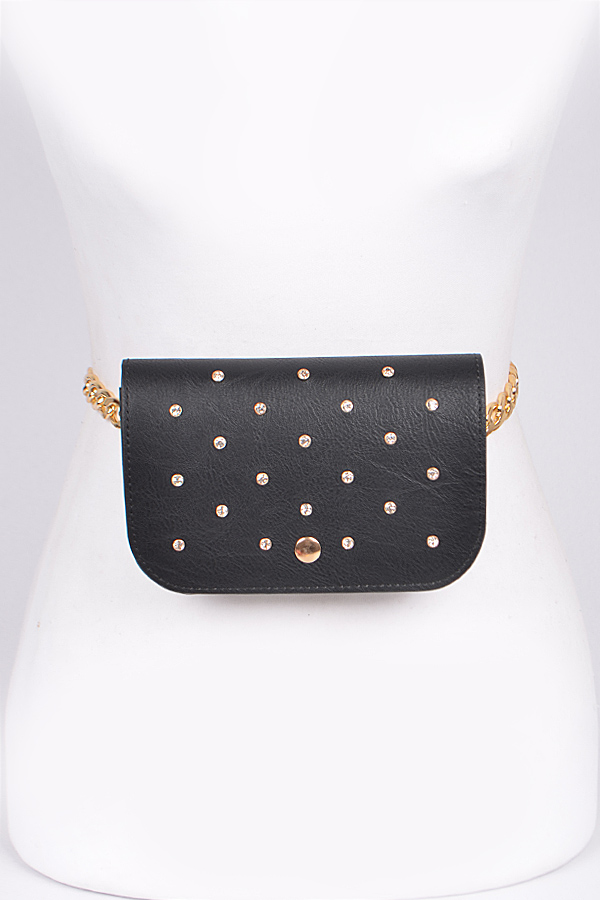 Studded Fanny Pack with Chain - orangeshine.com