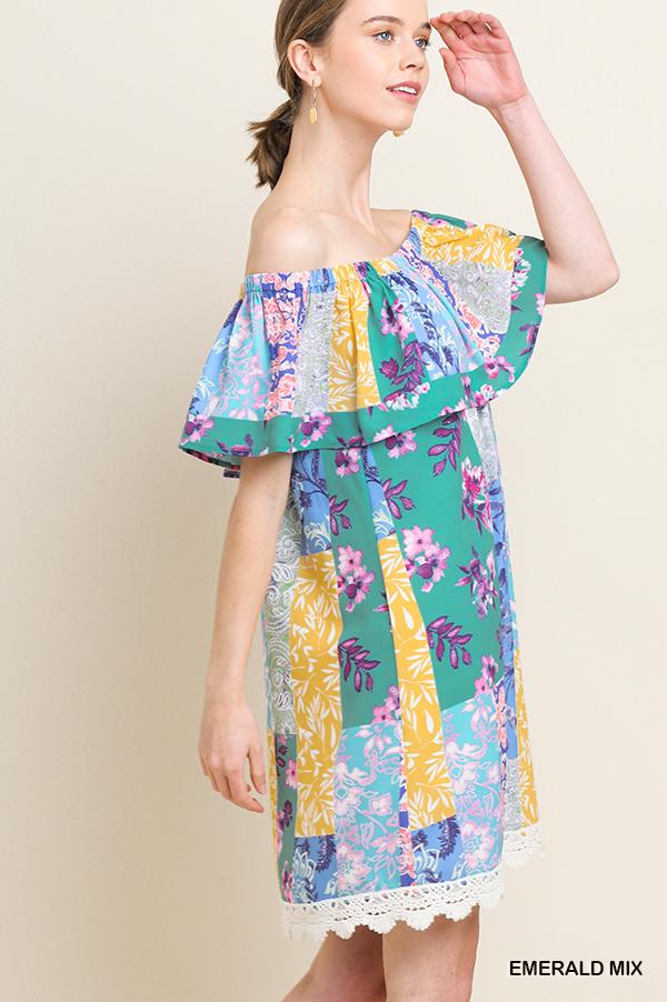 Mixed Floral Print Dress - orangeshine.com