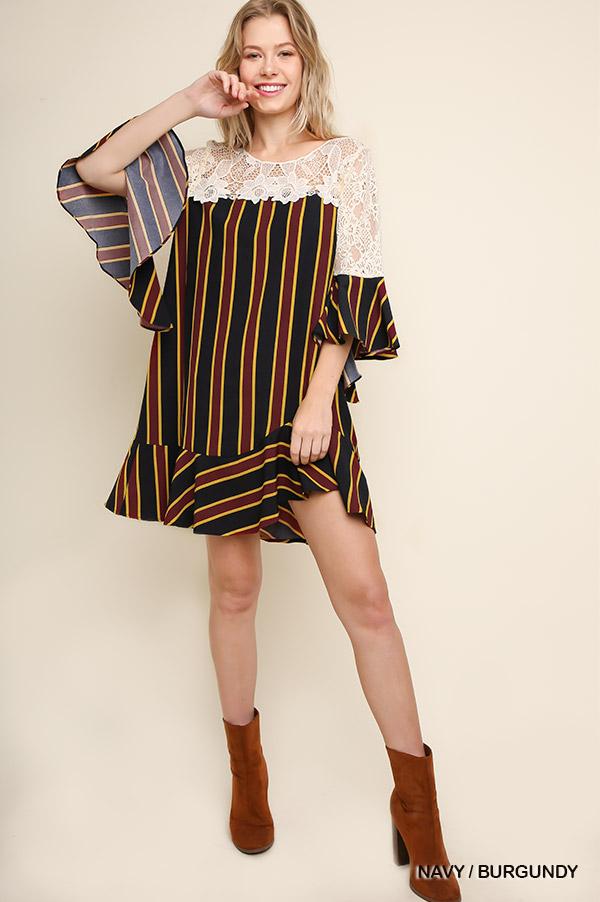 Striped Bell Sleeve Keyhole Dress - orangeshine.com
