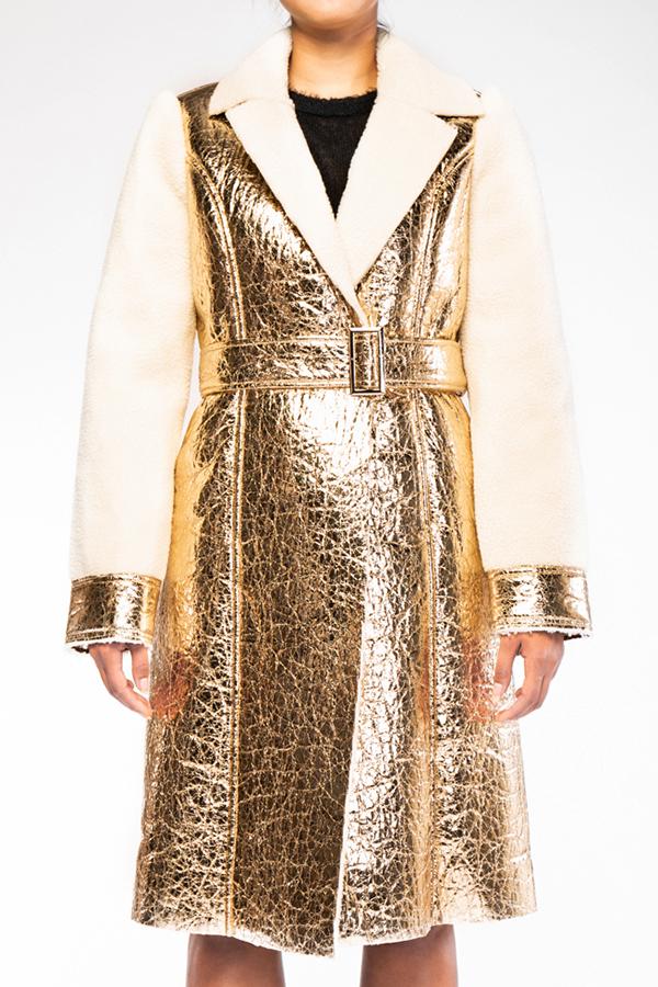 Sherpa Lined Metallic Foil Coat - orangeshine.com
