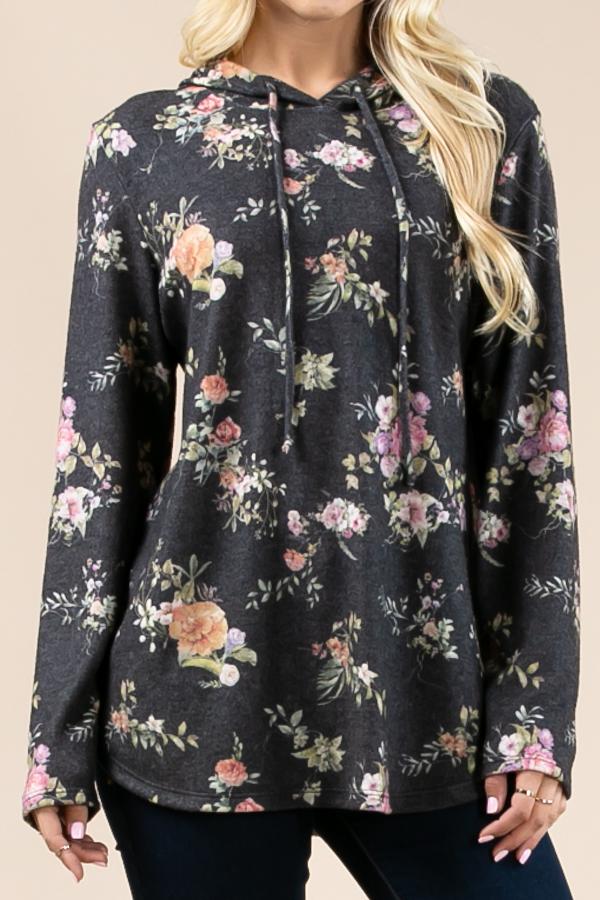 Floral print ultra soft hoodie - orangeshine.com