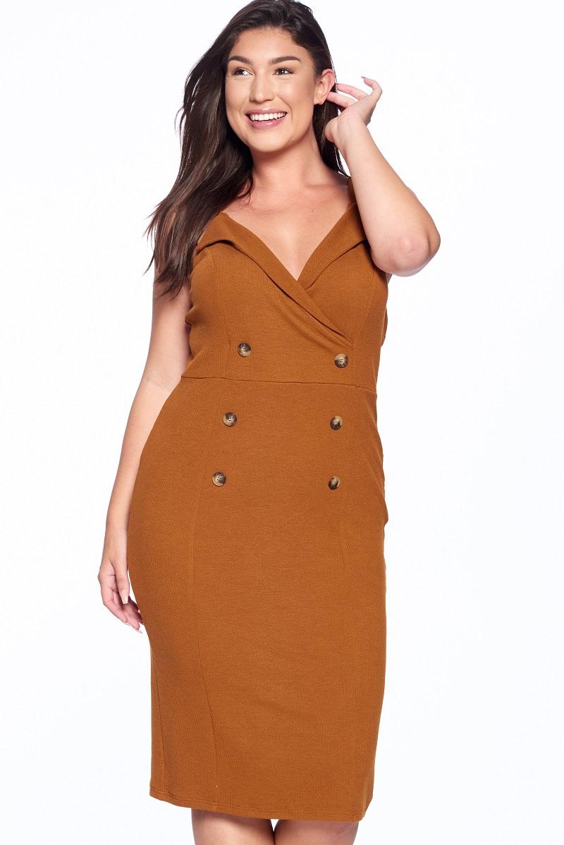 Surplice Cami Bodycon Dress - orangeshine.com