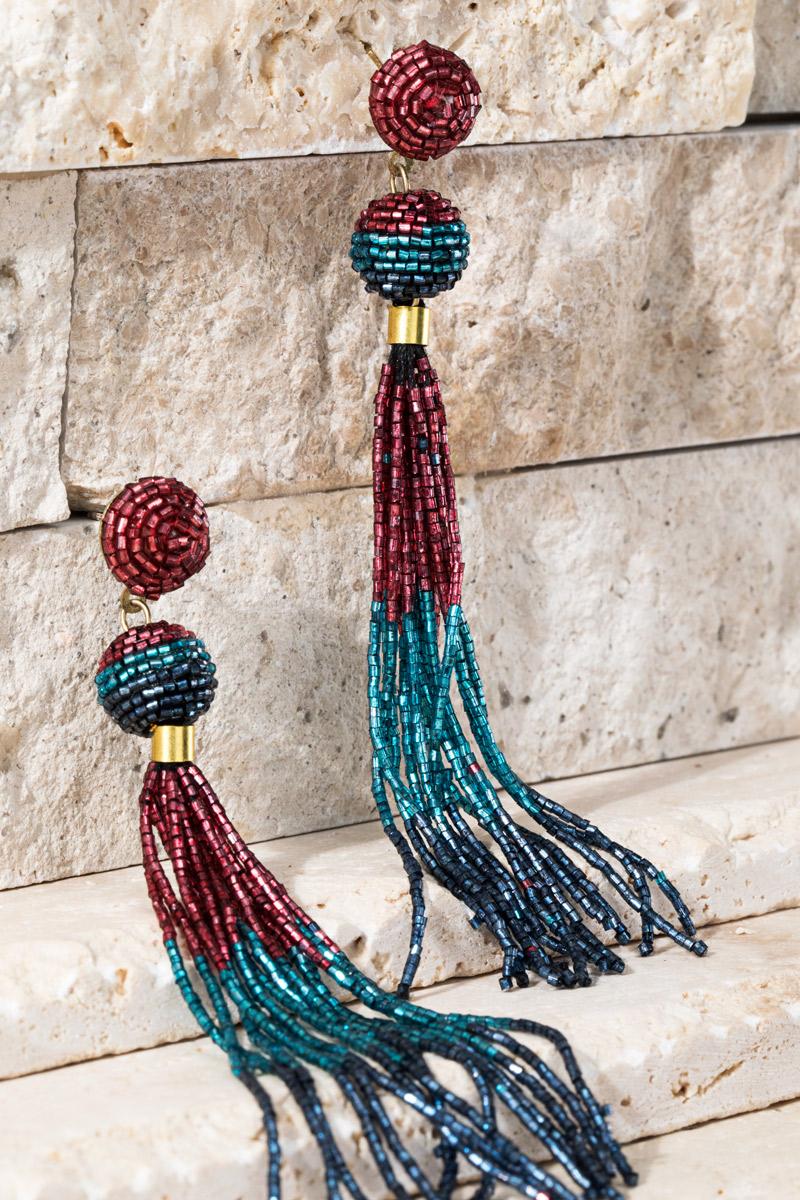 Seed Bead Tassel Earrings - orangeshine.com