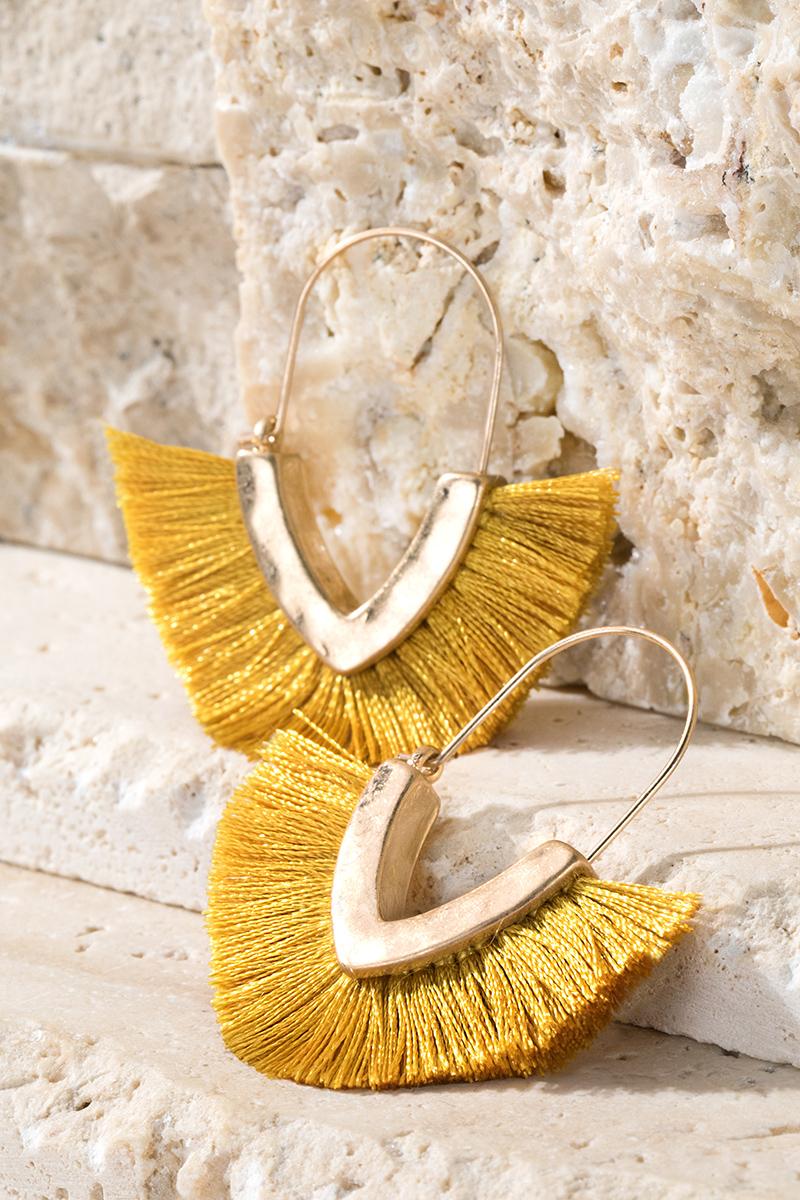 V-Shape Tassel Earrings - orangeshine.com