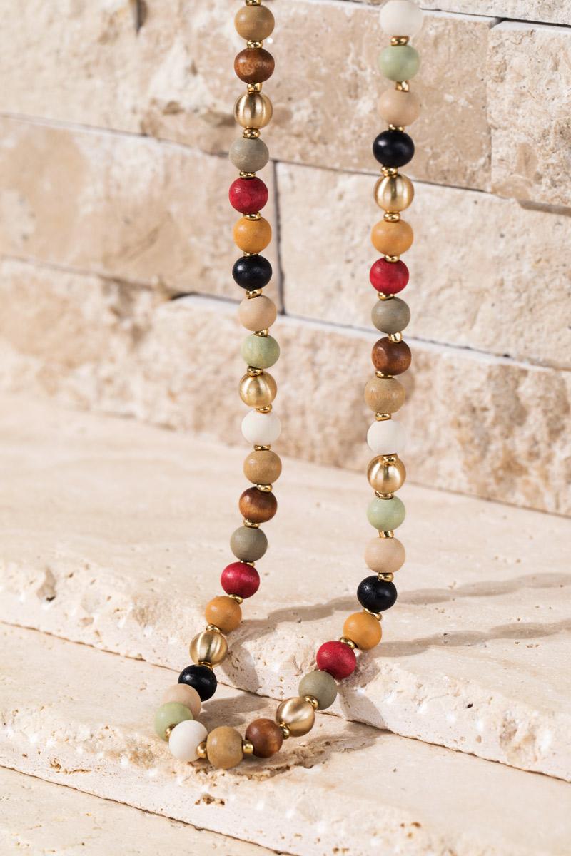 Wood and Metal Bead Necklace - orangeshine.com