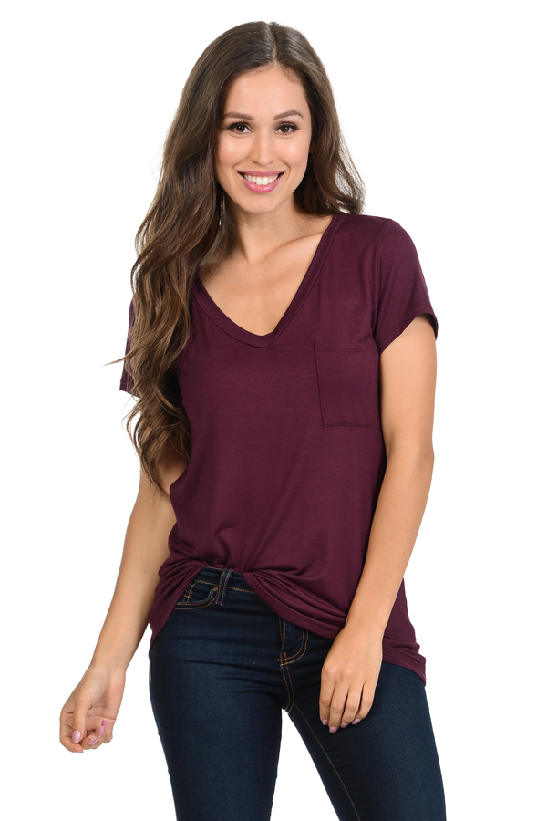 BASIC V-NECK TOP WITH POCKET - orangeshine.com