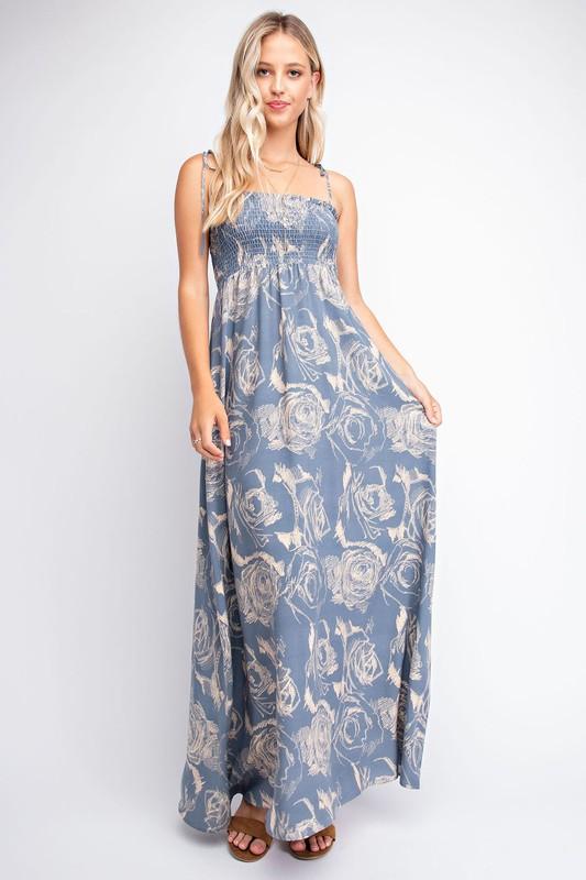 FLORAL SMOCKED MAXI DRESS - orangeshine.com