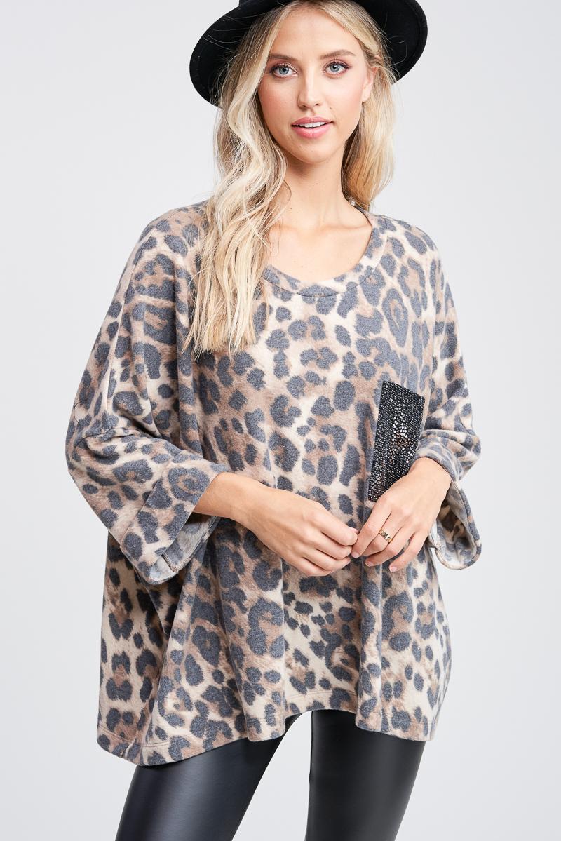 Oversize Dolman Cheetah Print Top - orangeshine.com
