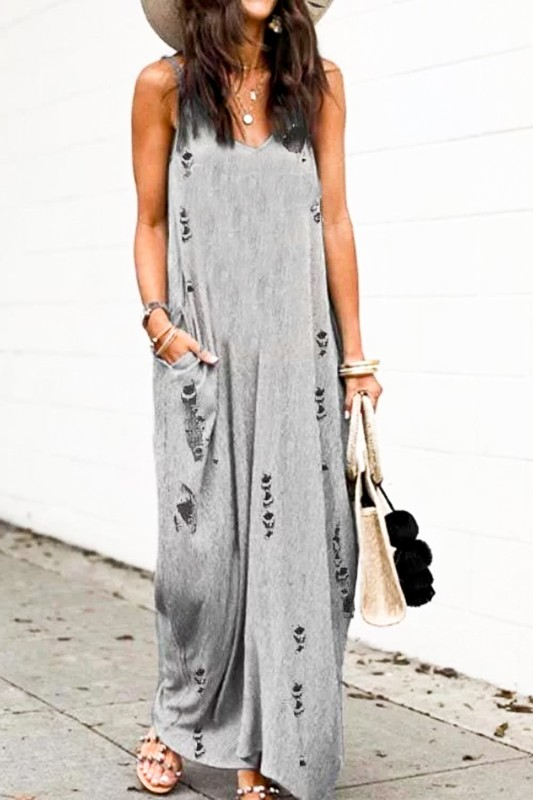 Distressed Loose Fit Maxi Dress - orangeshine.com