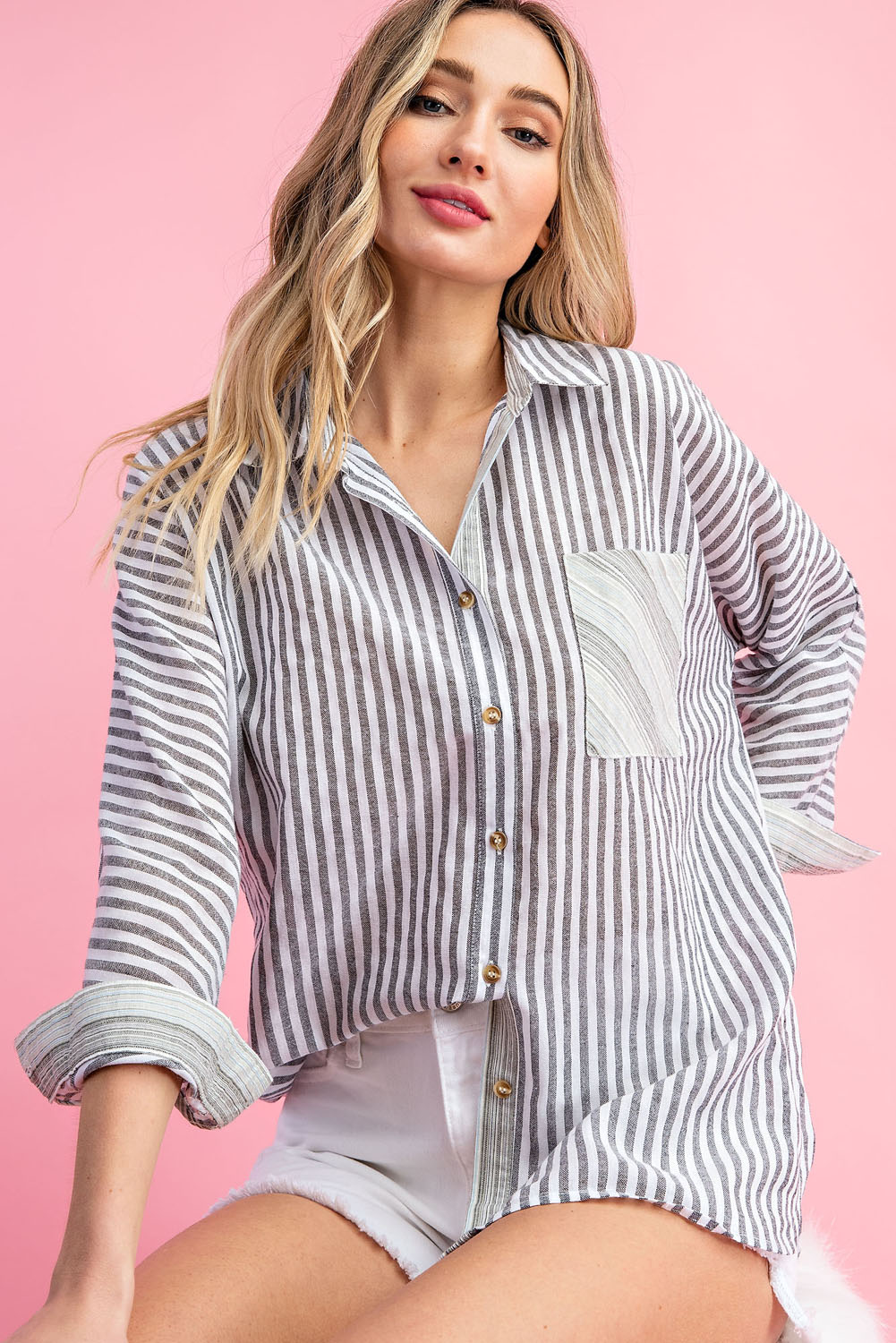 PINSTRIPE BUTTON UP LONG SLEEVE TOP - orangeshine.com