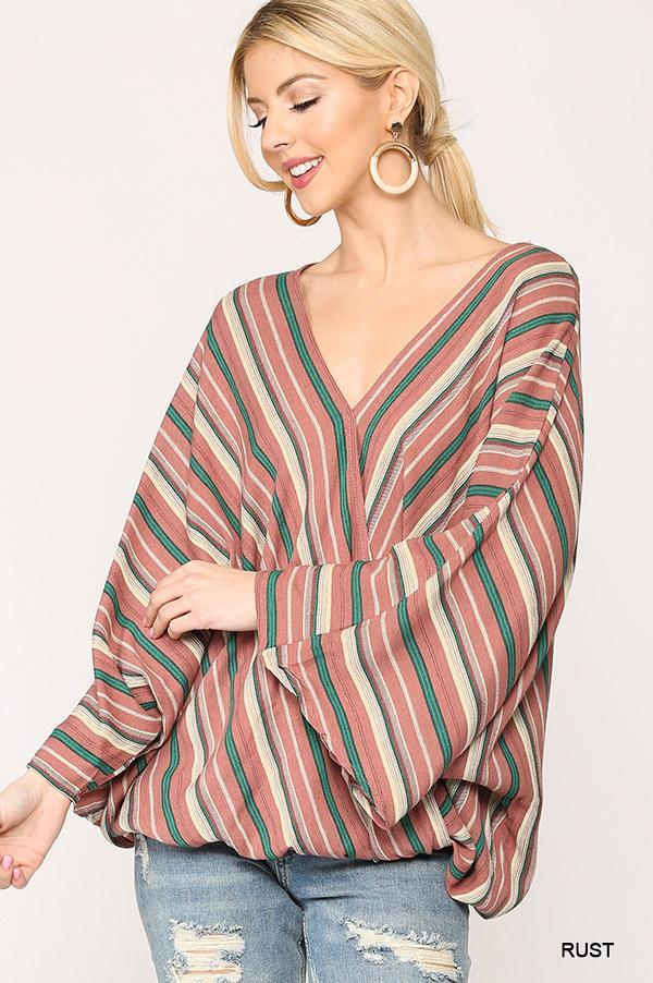 Striped Gauze Kimono Sleeve Top - orangeshine.com