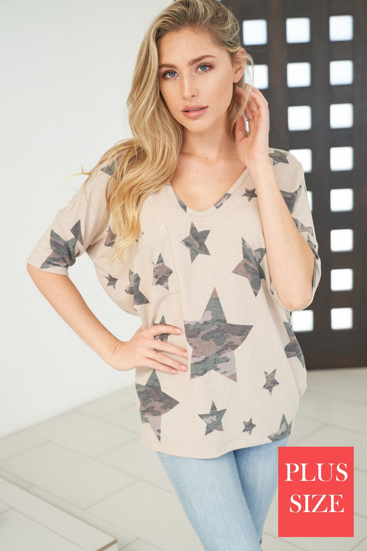 Short Sleeve Star Print Knit Top - orangeshine.com
