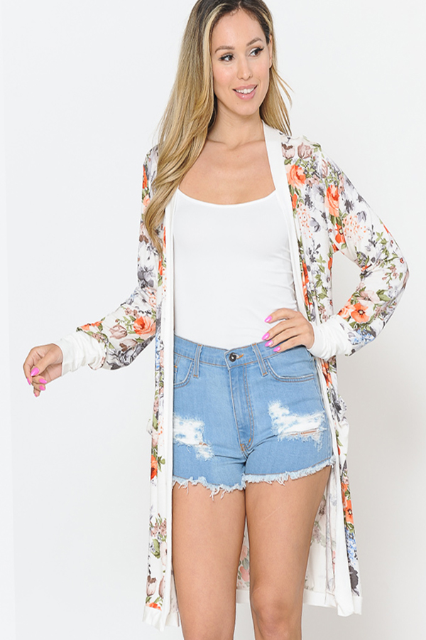 FLORAL MIDI OPEN CARDIGAN WITH CONTR - orangeshine.com