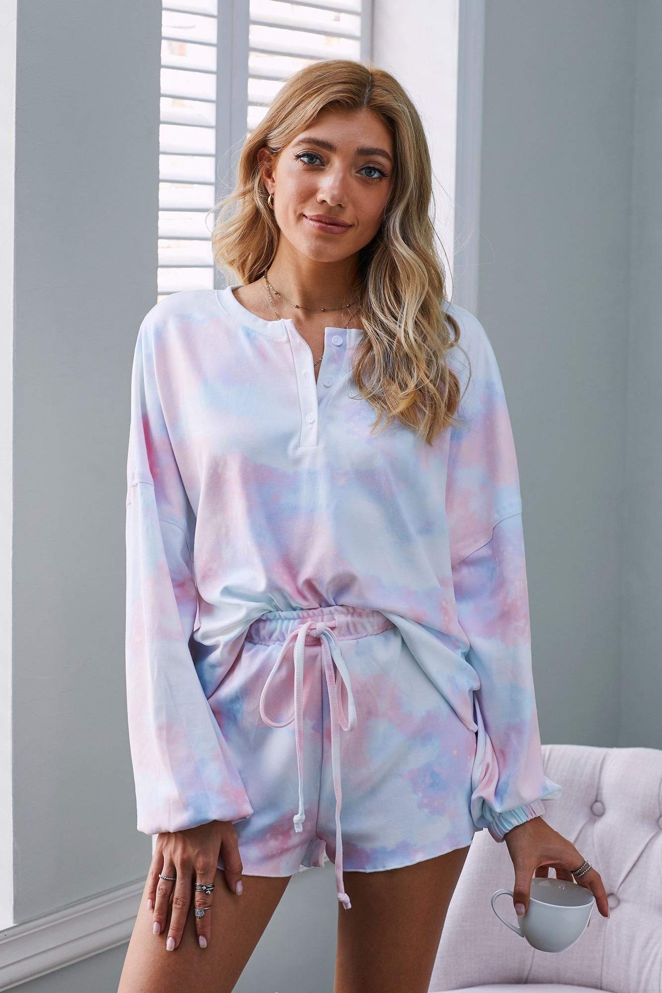 Tie Dye Knit Pajamas Set - orangeshine.com