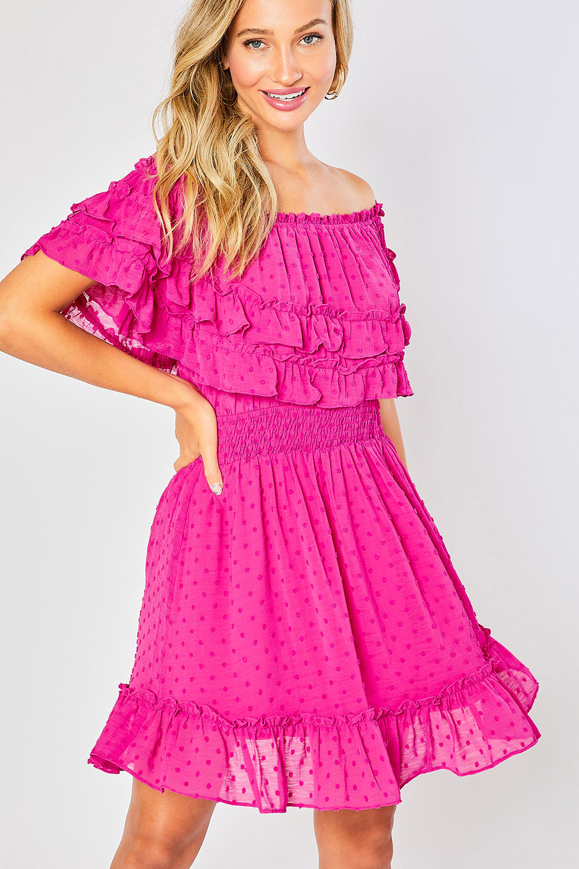 Ruffle Hem Off Shoulder Dress - orangeshine.com