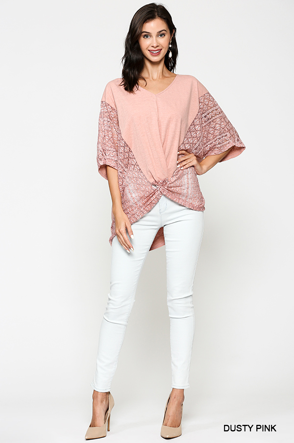 Crochet Lace Mix Front Twist Top - orangeshine.com