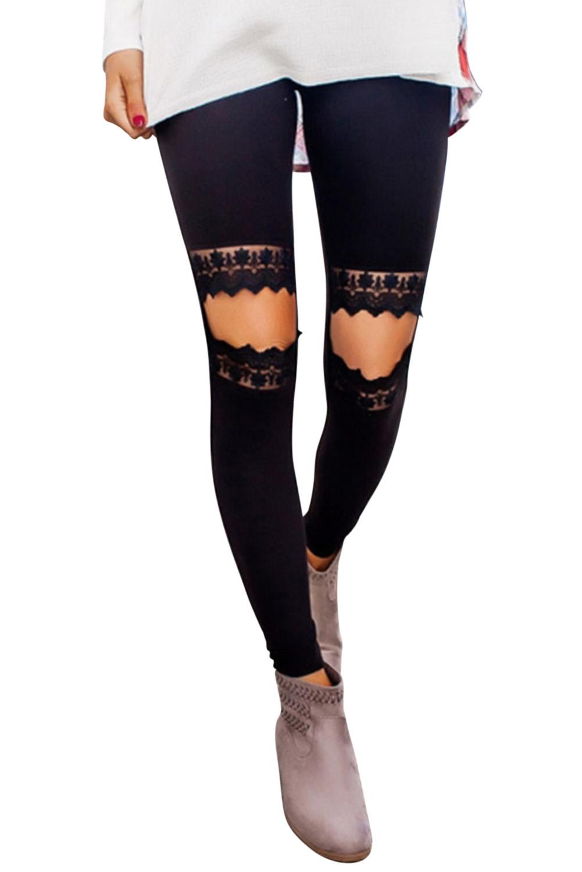 Hollow Out Black Skinny Leggings - orangeshine.com