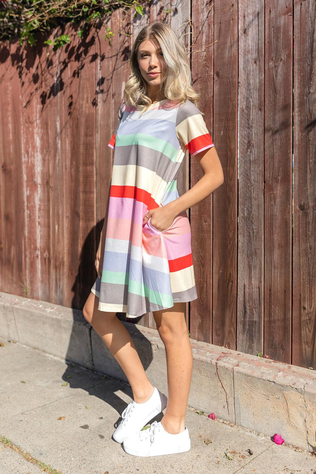 Colorful Stripe Dress - orangeshine.com