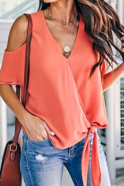 Shoulder Cutout Front Layered Blouse - orangeshine.com