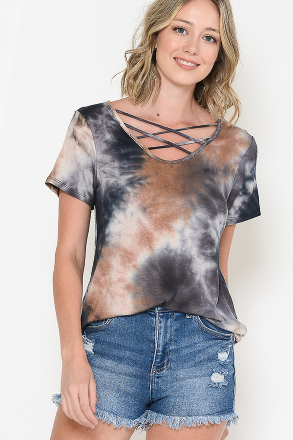 TIE DYE CHEST CRISS CROSS TOP - orangeshine.com