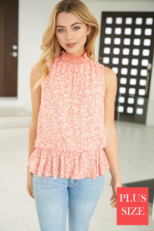Sleeveless Floral Print Knit Top - orangeshine.com