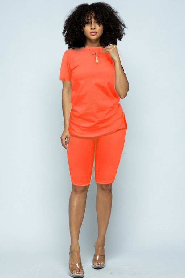 Two Piece Biker Shorts Sets - orangeshine.com
