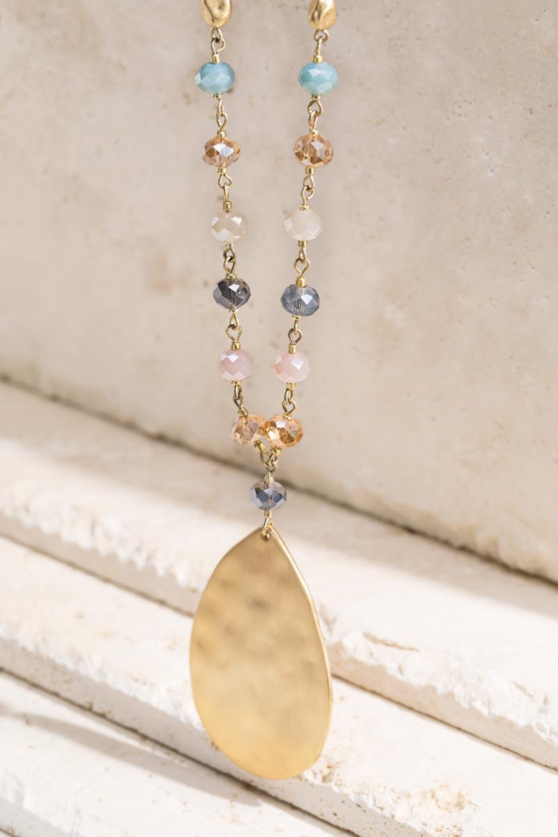 Hammered Metal Pendant Necklace - orangeshine.com