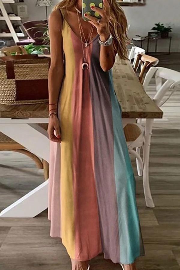 MULTI COLOR SEXY MAXI DRESS - orangeshine.com
