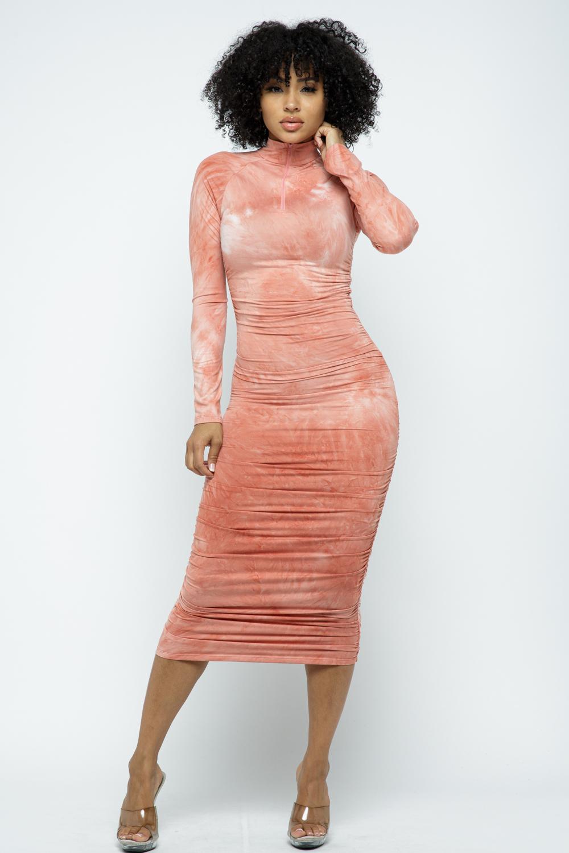 Tiedye Long Sleeve Midi Dress - orangeshine.com