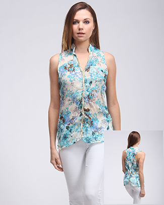 FLORAL PRINT SLEEVLESS TOP - orangeshine.com