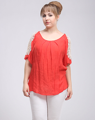 CROCHET TRIM PLEATED TOP - orangeshine.com