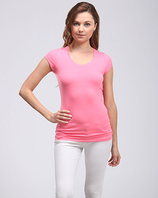 SHORT SLEEVE V-NECK TOP TUNIC - orangeshine.com