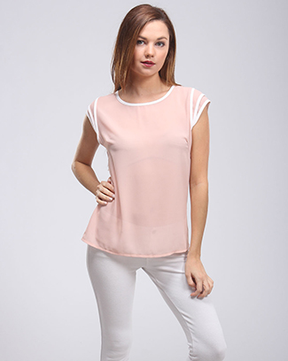 SHORT SLEEVE ROUND NECK TOP - orangeshine.com
