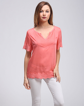 V-NECK PLEATED SHORT SLEEVE TOP - orangeshine.com