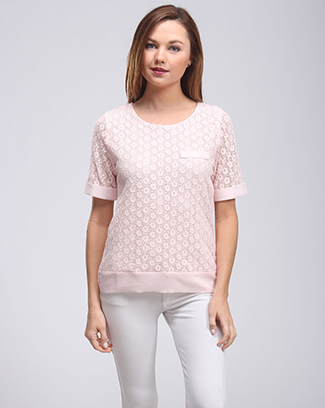 LACE SHORT SLEEVE ROUND NECK TOP - orangeshine.com