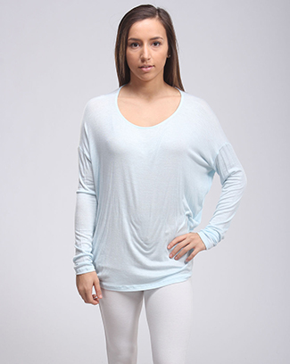 LONG SLEEVE DRAPED TOP - orangeshine.com