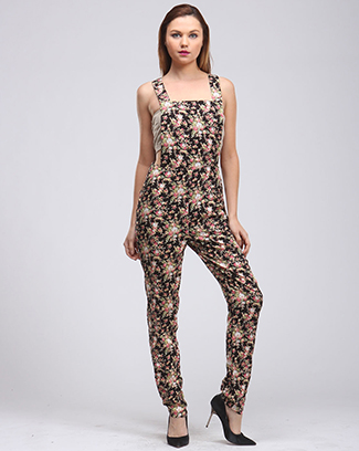 FLORAL JUMPSUIT OVER ALL - orangeshine.com