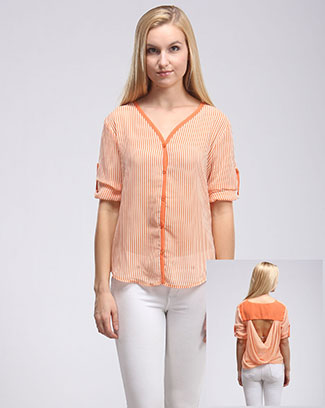 V-NECK STRIPED OPEN BACK TOP - orangeshine.com