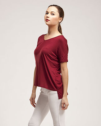 SHORT SLEEVE V-NECK TOP - orangeshine.com