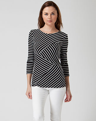 RAYON SPANDEX STRIPES COLUMN TOP - orangeshine.com
