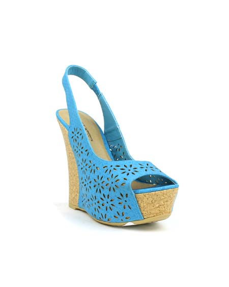 PATTERNED WEDGE WITH ANKLE STRAP - orangeshine.com
