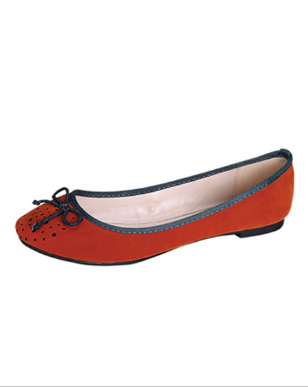 SOLID BALLERINA FLATS WITH RIBBONS - orangeshine.com