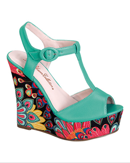 PEEP TOE WEDGE HEEL WITH PRINTS - orangeshine.com