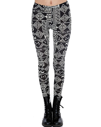 BLACK  WHITE AZTEC PRINT LEGGINGS - orangeshine.com
