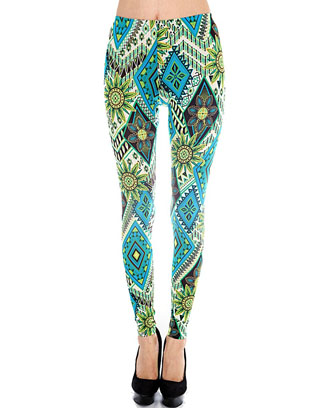 TROPICAL ETHNIC PRINT LEGGING - orangeshine.com