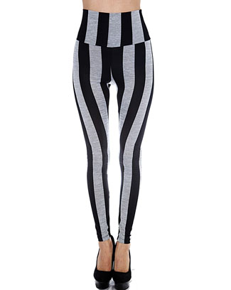HIGH WAIST STRIPED LEGGINGS - orangeshine.com