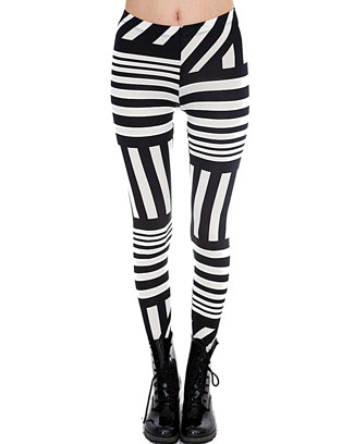 VERTICAL AND HORIZONTAL STRIPED LEGGINGS - orangeshine.com