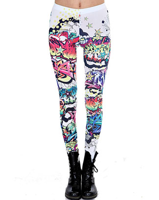 GRAFFITI PRINT LEGGINGS - orangeshine.com