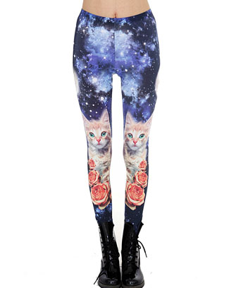 CAT ROSE GALAXY PRINTED LEGGIN - orangeshine.com