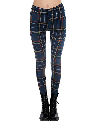 TEAL GREEN PLAID LEGGINGS - orangeshine.com